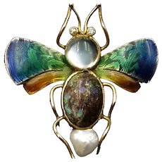 Antique Opal Moonstone Pearl & Diamond Enamel Insect Bug 15K Yellow Gold Brooch Pin
