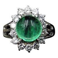 5.06ct Cabochon Emerald & 0.72ct Diamond Cluster Halo 18ct White Gold Ring