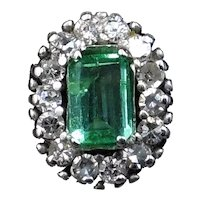 Vintage Emerald & Diamond 18ct White Gold Oblong Cluster Ring