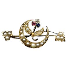 Antique Pearl Diamond Ruby & Sapphire Crescent Moon 15ct Gold Bar Brooch Pin
