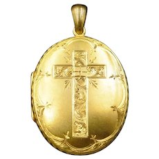 Antique Cross Double Sided Engraved Oval Rolled Gold Photo Locket Pendant