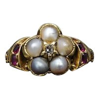 Antique Pearl Ruby and Diamond Cluster 18ct 18K Yellow Gold Ring