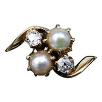 Vintage Old Cut Diamond and Pearl 18ct 18K Yellow Gold Twist Cluster Ring
