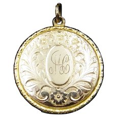 Antique 9ct Yellow Gold Engraved Fancy Round Photo Locket Pendant