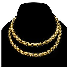 Antique Georgian Long 15ct Yellow Gold Textured Belcher Chain Necklace