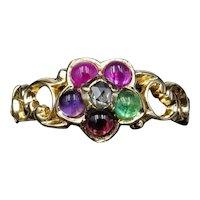 Antique REGARD Acrostic Multi Gemstone Cluster 18ct Gold Ring