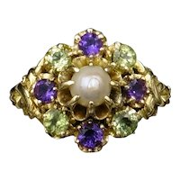 Antique Amethyst Peridot and Pearl Cluster 18ct Gold Ring