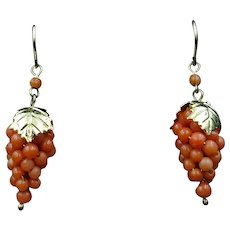 Antique Coral Grape Gold on Sterling Silver Drop Earrings