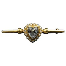 Antique Pearl & Rock Crystal Heart 15ct Gold Bar Brooch