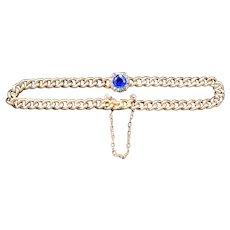 Antique Sapphire & Diamond Paste Cluster Fancy Curb 9ct 9K Gold Bracelet