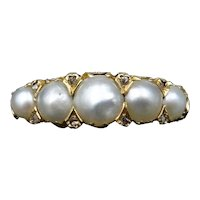 Antique Victorian Pearl & Diamond Five Stone 18ct Gold Ring Band