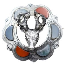 Antique Scottish Agate Stag Sterling Silver Brooch