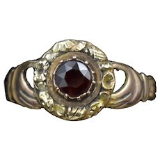 Antique Fede Claddagh Double Hand Garnet Gold Ring