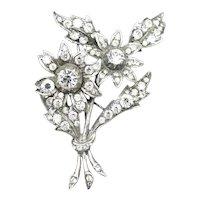Vintage Paste Sterling Silver Flower Spray Brooch Pin 1940's