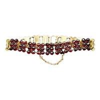 Antique Late Victorian Bohemian Garnet Gold Bracelet Circa.1890