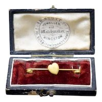 Antique Boxed 15ct 15K Yellow Gold Love Heart Pin Brooch