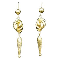 Antique Victorian Lovers Knot 9ct 9K Yellow Gold Long Drop Dangle Earrings Etruscan