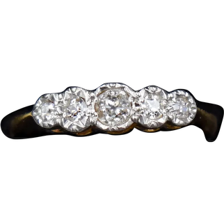 Antique Old Cut Diamond Five Stone 18ct Yellow Gold and Platinum Bezel Ring
