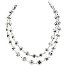 """Art Deco Paste Double Full Riviere Short Necklace Antique 17"""""""