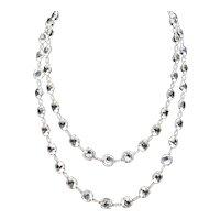 "Art Deco French Paste Long Silver Guard Chain Necklace 38"" Antique"