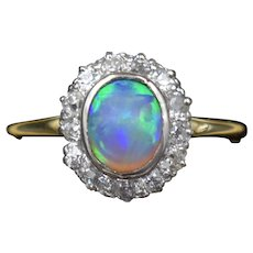 Antique Natural Black Opal and Diamond Oval Halo Cluster 18ct 18K Gold Ring C.1910