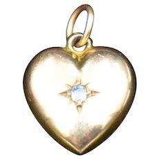 Antique 9ct 9K Gold Love Heart Pendant Charm Edwardian