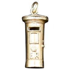 Vintage 9ct 9K Gold Solid Post Box Charm Pendant Birmingham 1963