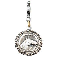 Antique Niello Silver and Gold Horse Equestrian Fob Pendant