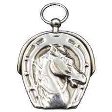Antique Equestrian Horse Shoe Silver Stamp Fob Seal Locket Pendant