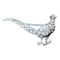 Antique Pheasant Bird Paste Sterling Silver Brooch Pin Victorian