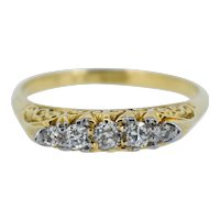 Antique Victorian Old Cut Diamond Five Stone 18K Yellow Gold Scroll Ring