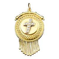 Antique Etruscan Pearl Cross Style 15ct 15K Gold Locket Pendant