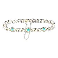 Antique Turquoise Curb Link 15ct Gold Bracelet Edwardian Victorian