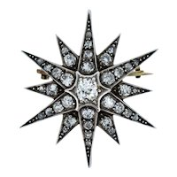 Antique Victorian Old Cut Diamond Gold and Silver Star Celestial Brooch Pin Circa.1860