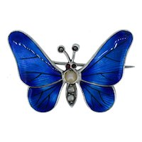 Antique Blue Enamel and Pearl Sterling Silver Butterfly Insect Brooch Pin