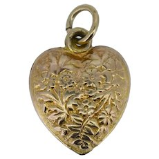 Vintage 9ct 9K Gold Floral Love Heart Pendant Charm London 1967