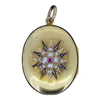 Antique Ruby and Pearl Blue Enamel Star 15ct 15K Yellow Gold Oval Locket Pendant