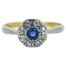 Art Deco Blue Sapphire and Diamond Halo Cluster 18ct 18K Yellow Gold and Platinum Ring