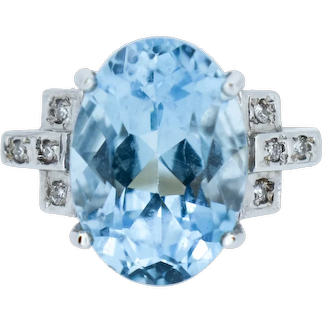 Blue Topaz and Diamond Oval Solitaire 9ct 9K Yellow Gold Cocktail Ring
