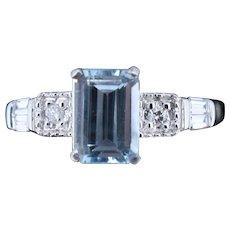 Emerald Cut Aquamarine and Diamond 18ct White Gold Ring Art Deco Style