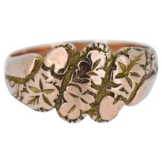 Antique 'Love & Affection' Ivy Heart 9ct Rose Gold Keeper Ring Band Circa.1909