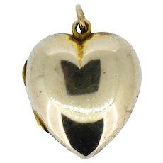 Antique 9ct 9K Gold Puffy Love Heart Locket Pendant Charm Circa.1910