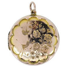 Antique Aesthetic Swallow Bird Floral 9ct Gold Round Locket Pendant