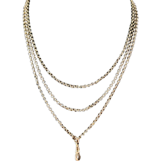 """Antique Long Faceted Belcher Rolled Gold Guard Muff Chain Necklace 50"""" Length"""