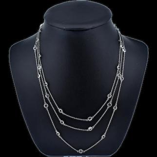 "Antique Art Deco Paste Long Guard Muff Chain Silver Necklace 54"""