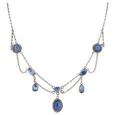 Antique Moonstone and Chalcedony Silver Festoon Fringe Necklace Art Nouveau