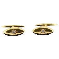 Antique Diamond Star Starburst 15ct 15K Yellow Gold Mens Cufflinks