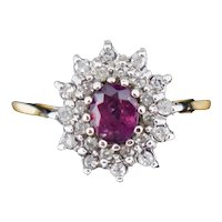 Vintage Ruby and Diamond Double Halo Cluster 9ct 9K Yellow Gold Ring
