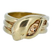 Vintage Heavy Snake Serpent 9ct Gold Ring Band London 1989 12.9 grams
