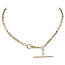 Antique 9ct 9K Gold Fancy Short Albert Watch Chain Necklace